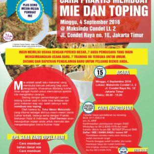 Training Usaha Mie Dan Topping di Condet, 4 September 2016