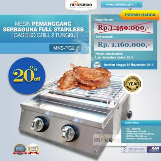 Jual Pemanggang Serbaguna Full Stainless – Gas BBQ Grill 2 Tungku di Solo
