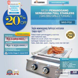Jual Pemanggang Serbaguna – Gas BBQ Grill 2 Tungku Full Stainless di Solo