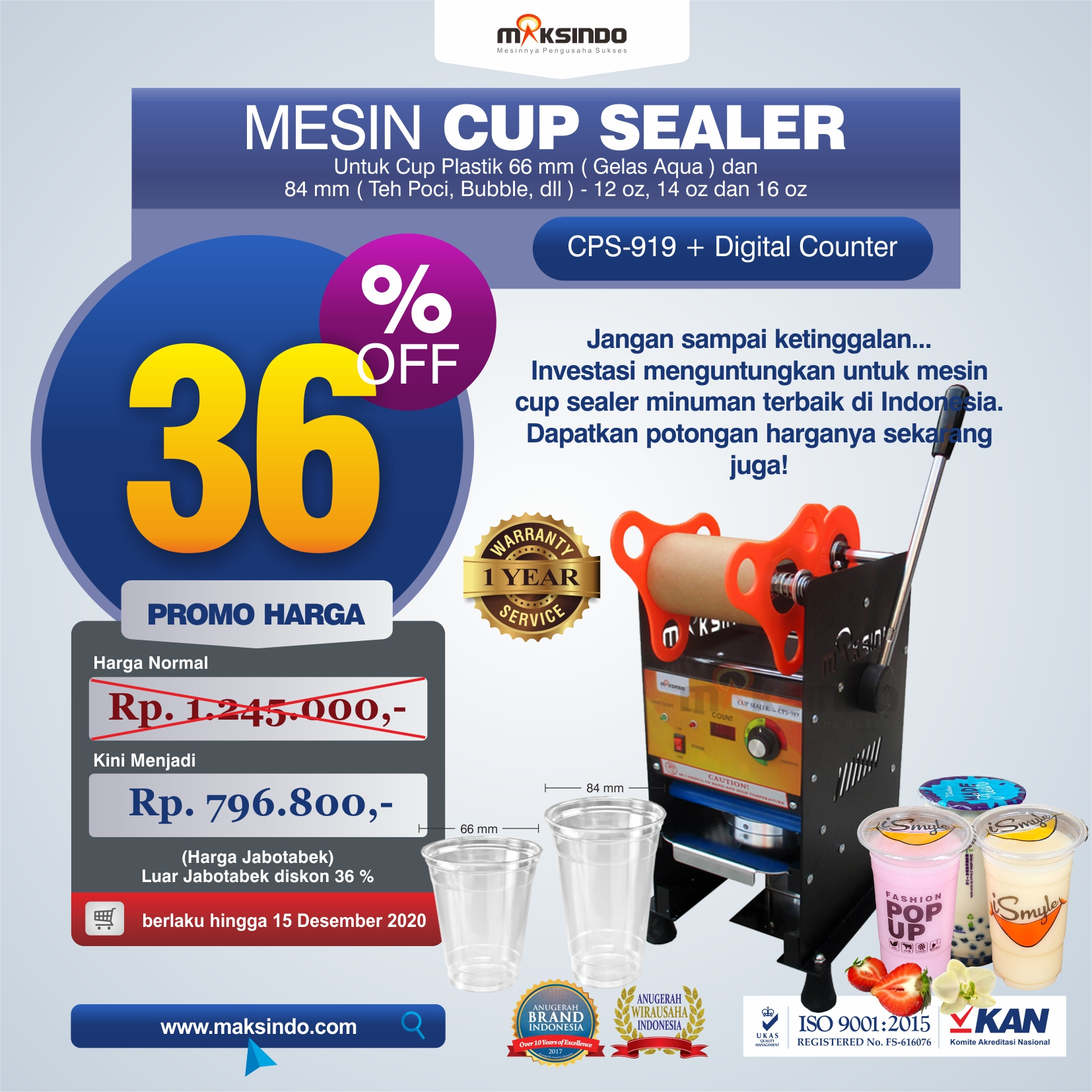 Jual Mesin Cup Sealer Manual CPS-919 di Solo