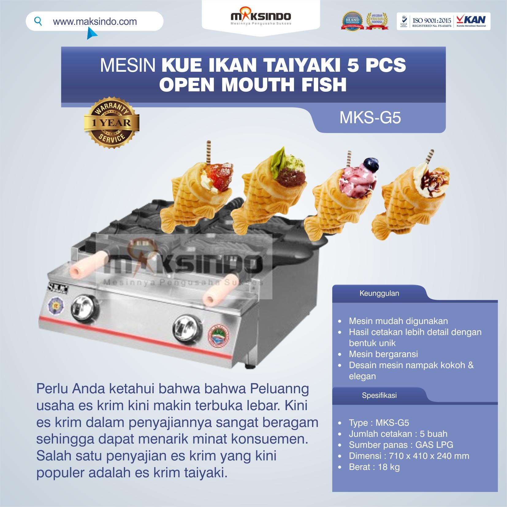 Jual Mesin Kue Ikan Taiyaki 5 Pcs – Open Mouth Fish di Solo