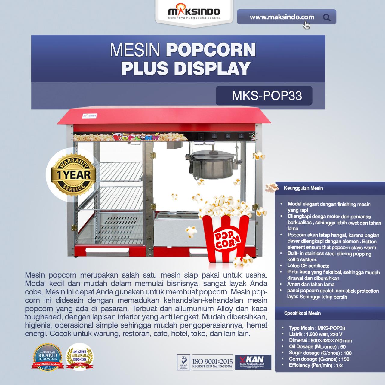 Jual Mesin Popcorn Plus Display (POP33) di Solo