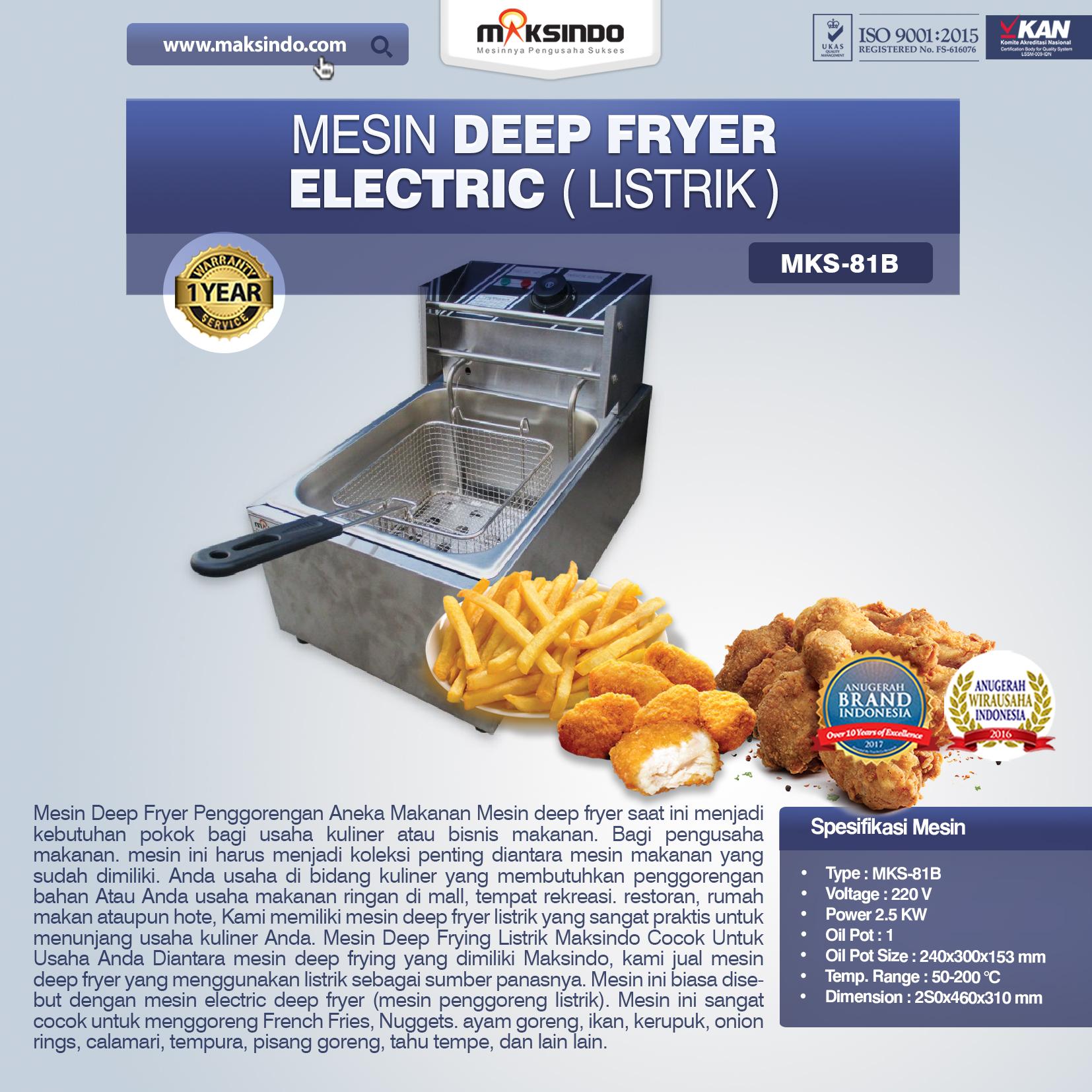 Jual  Mesin Deep Fryer Listrik MKS-81B  di Solo