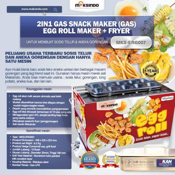 Jual Mesin Egg Roll Gas 2in1 Plus Fryer ERG007 di Solo