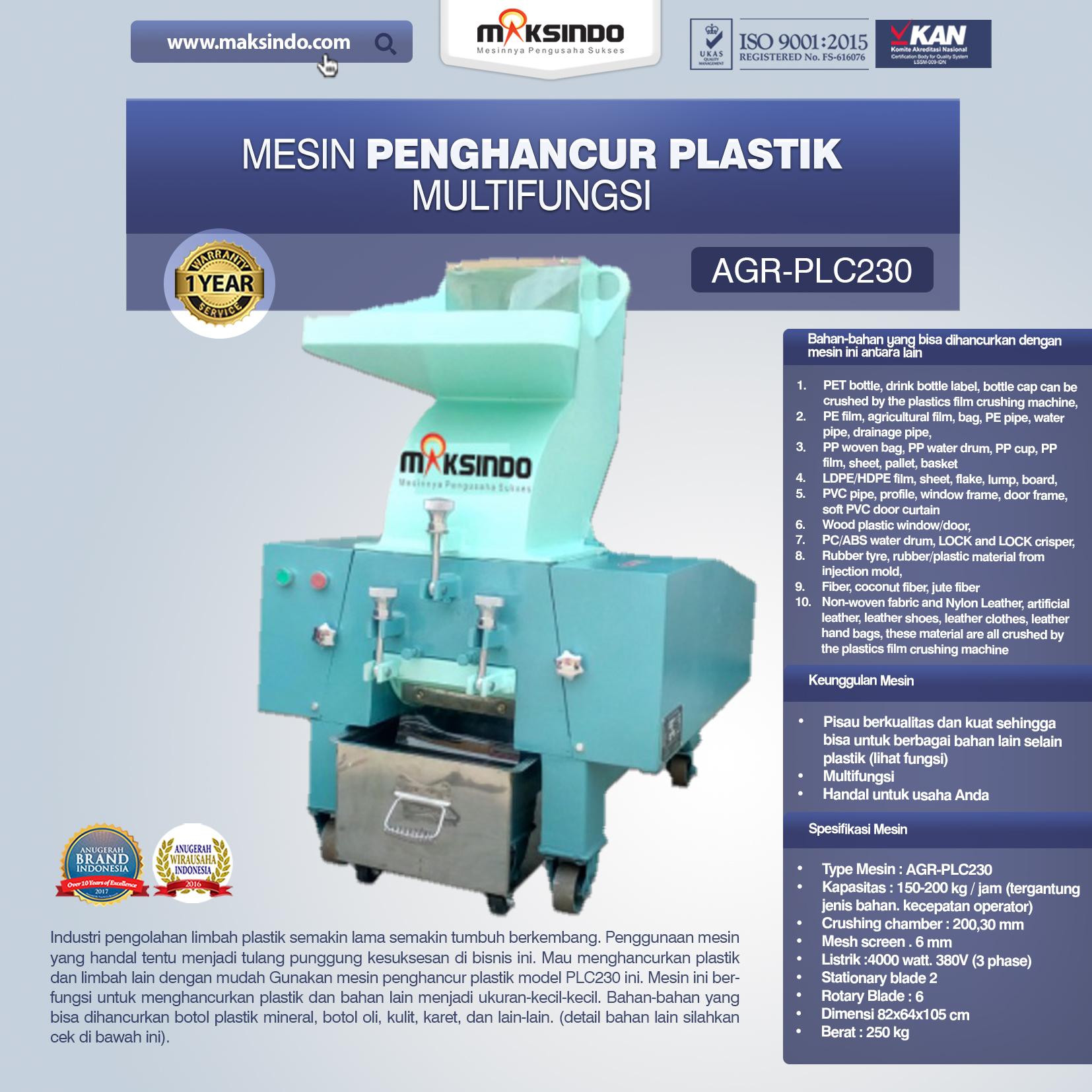 Jual Mesin Penghancur Plastik Multifungsi – PLC230 di Solo