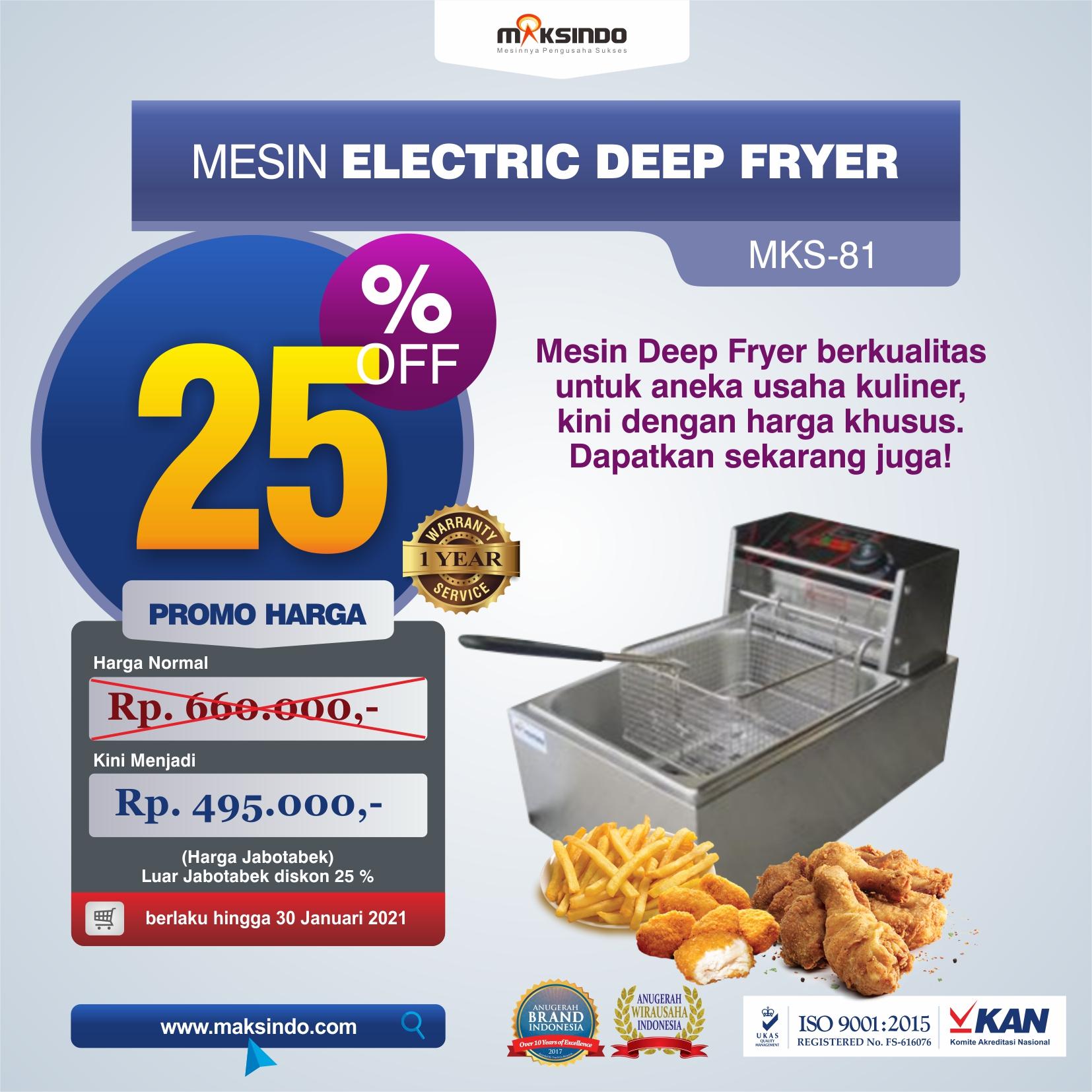 Jual Mesin Electric Deep Fryer MKS-81 di Solo