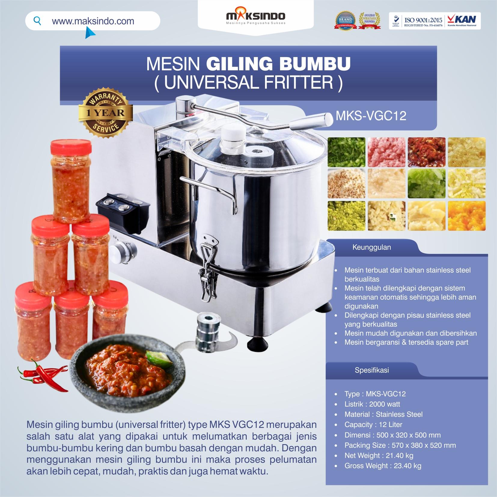 Jual Mesin Giling Bumbu (Universal Fritter) MKS VGC12 di Solo