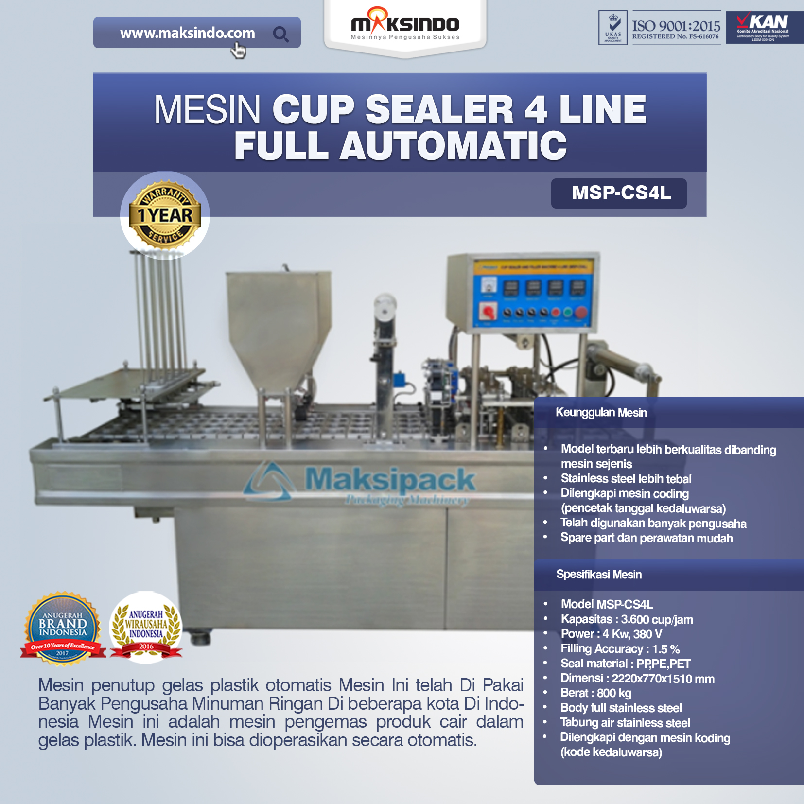 Jual Mesin Cup Sealer 4 line di Solo
