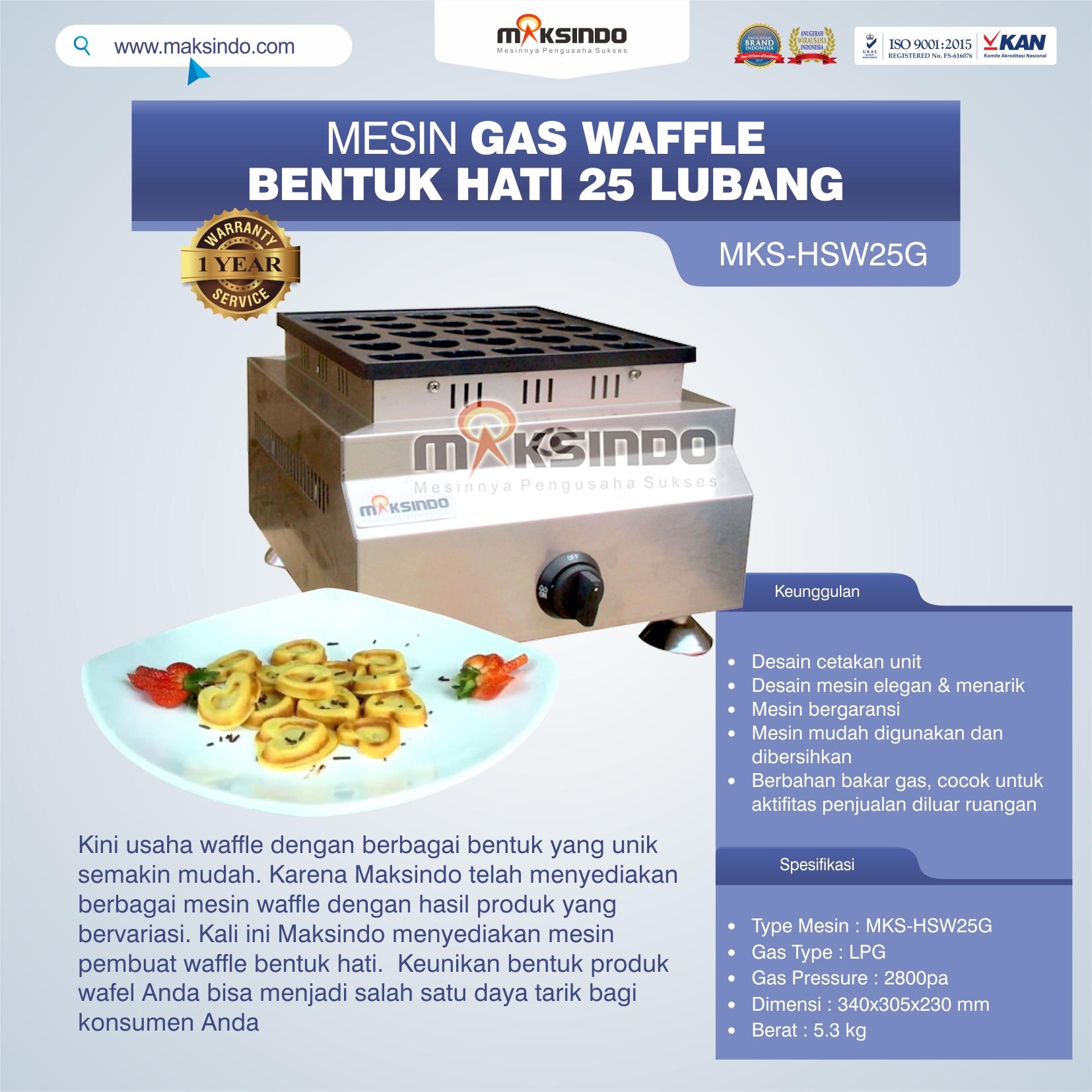 Jual Gas Waffle Bentuk Hati 25 Lubang MKS-HSW25G di Solo