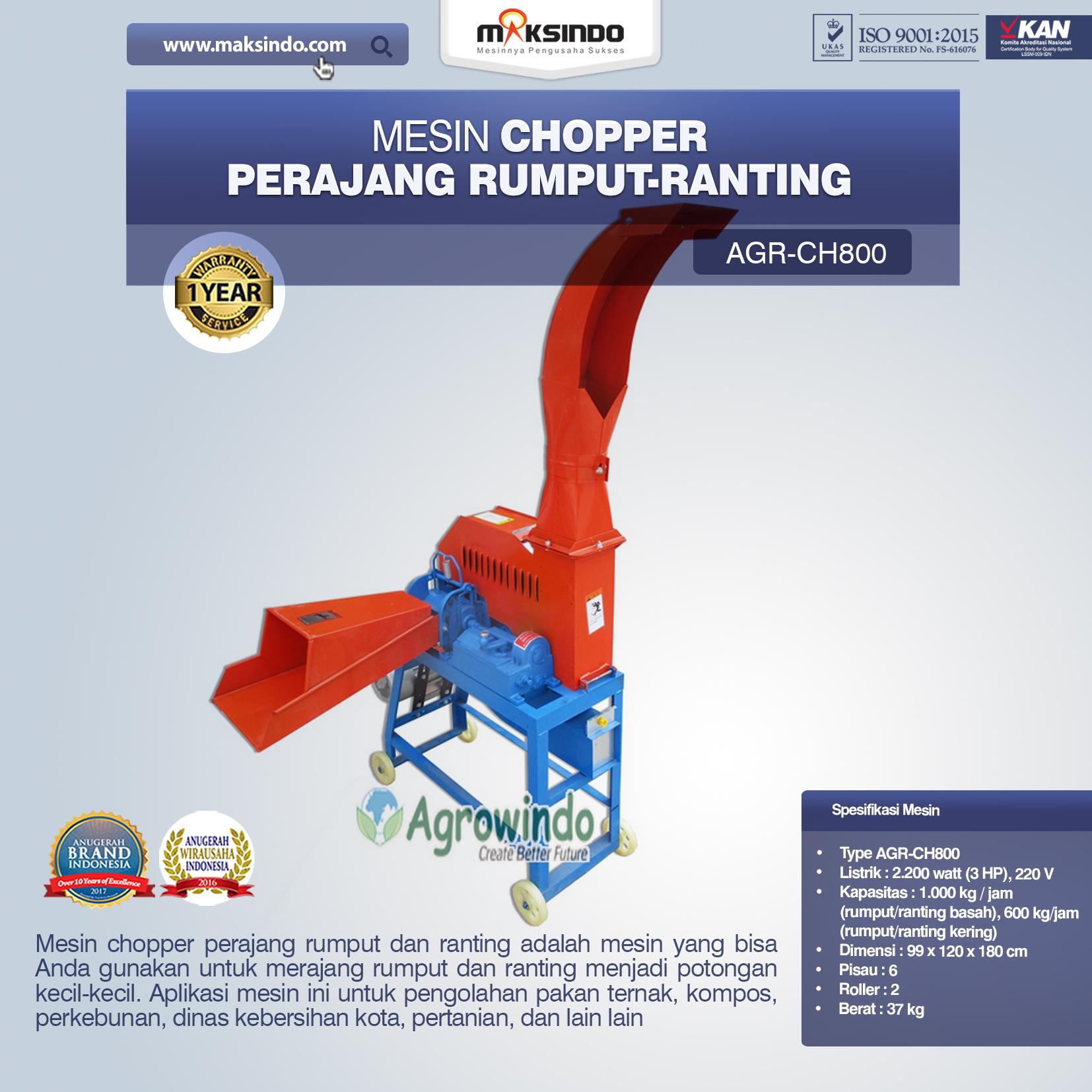 Jual Mesin Chopper Perajang Rumput-Ranting AGR CH800 di Solo