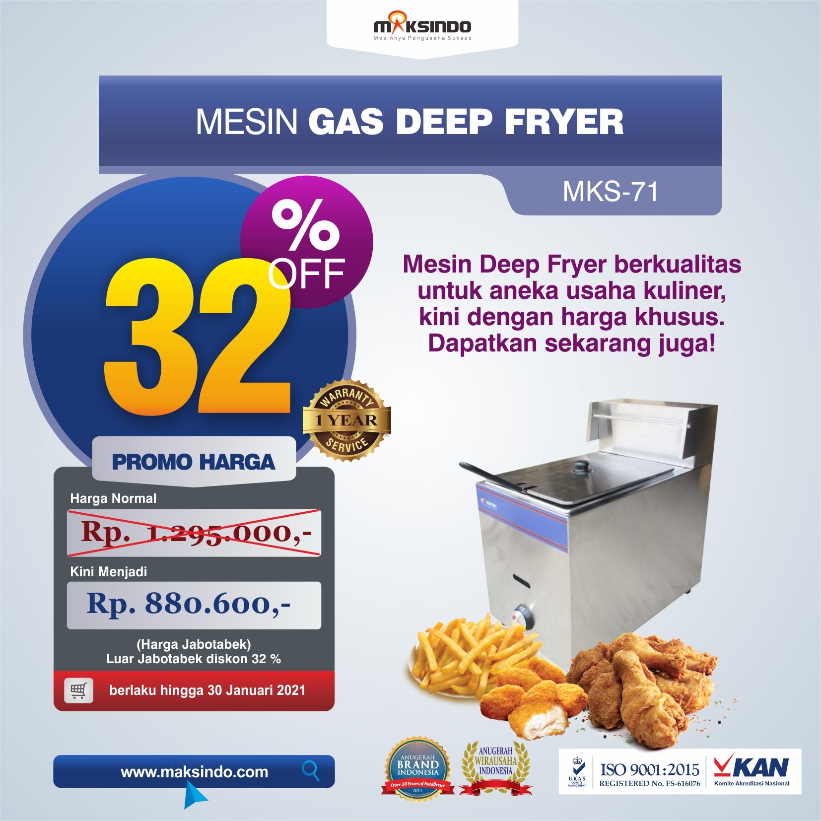 Jual Mesin Gas Deep Fryer MKS-71 di Solo