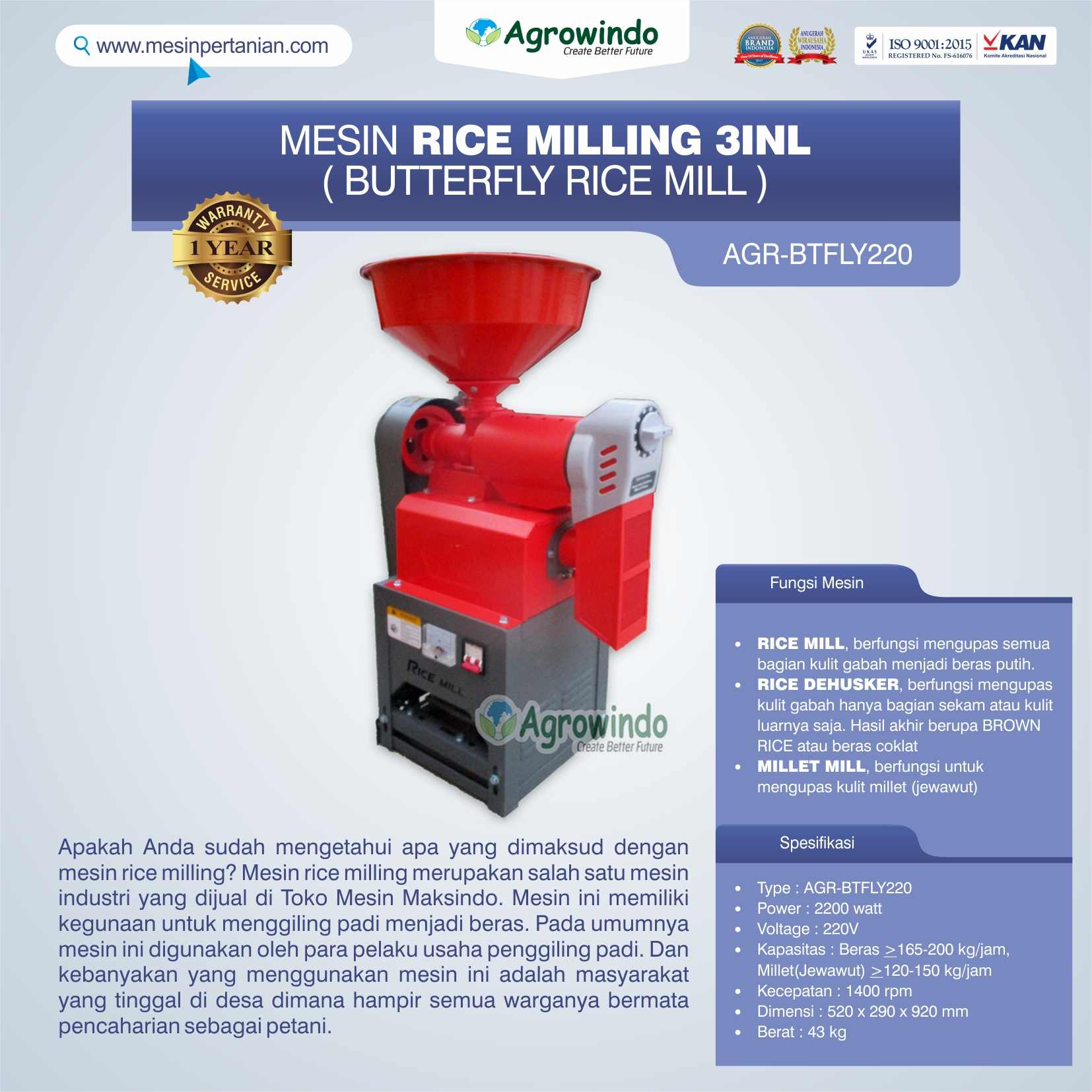 Jual  Mesin Rice Milling 3in1 (Butterfly Rice Mill) AGR-BTFLY220 di Solo