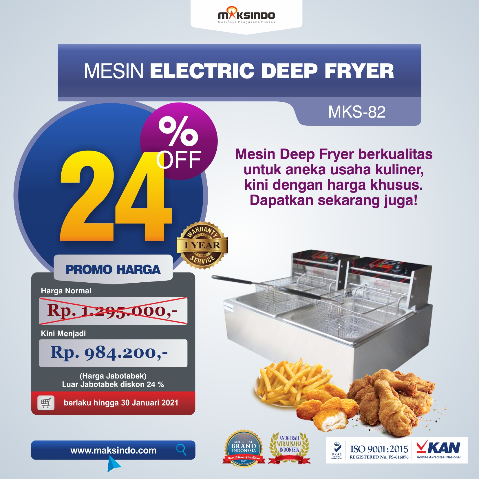 Jual Mesin Electric Deep Fryer MKS-82 di Solo