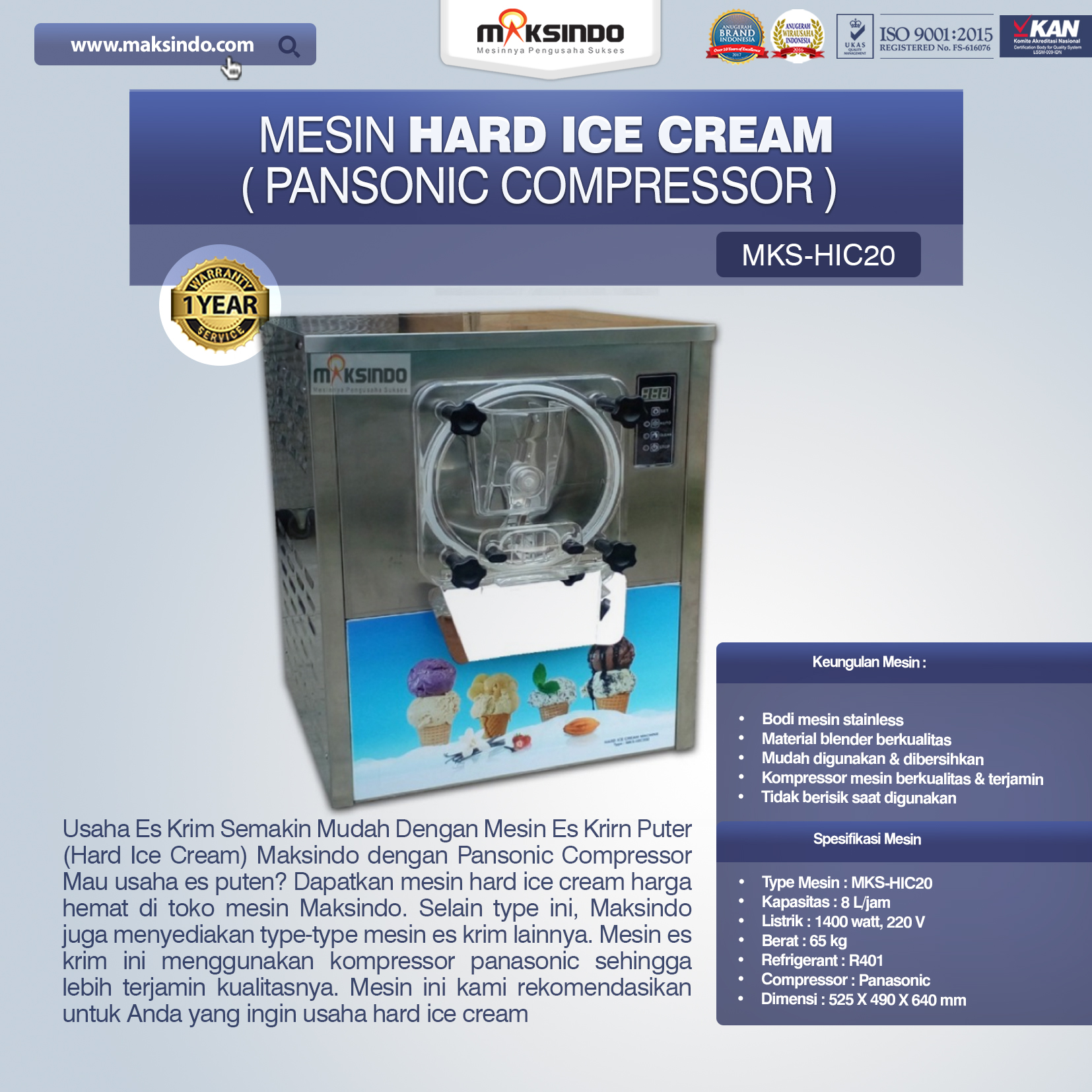 Jual Mesin Hard Ice Cream (HIC20) di Solo