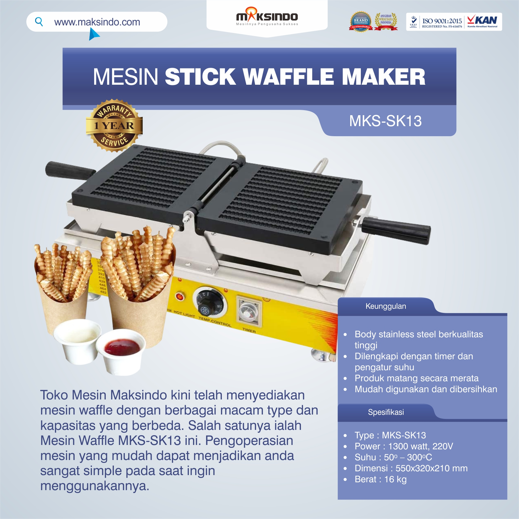 Jual Mesin Stick Waffle Maker MKS-SK13 Di Solo