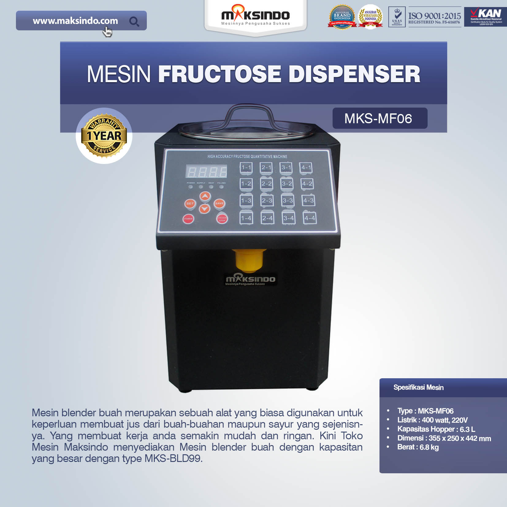Jual Mesin Fructose Dispenser MKS-MF06 Di Solo