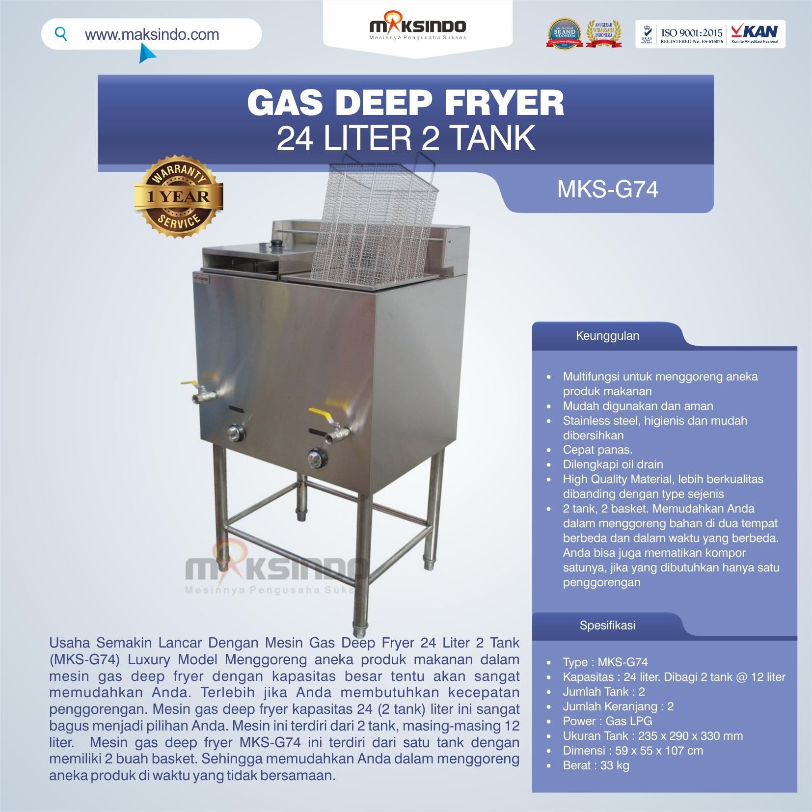 Jual Gas Deep Fryer 24 Liter 2 Tank (G74) di Solo