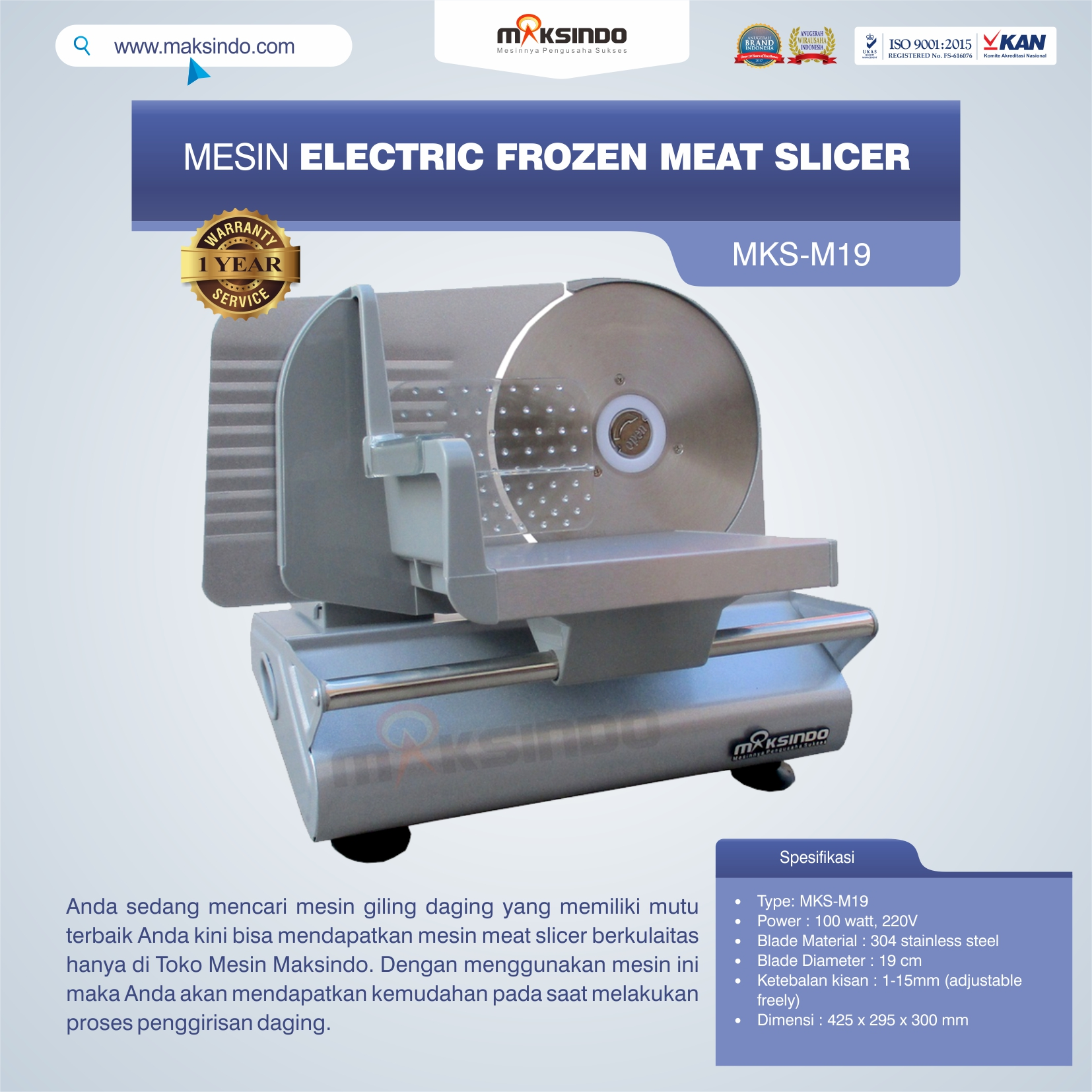 Jual Mesin Electric Frozen Meat Slicer MKS-M19 di Solo