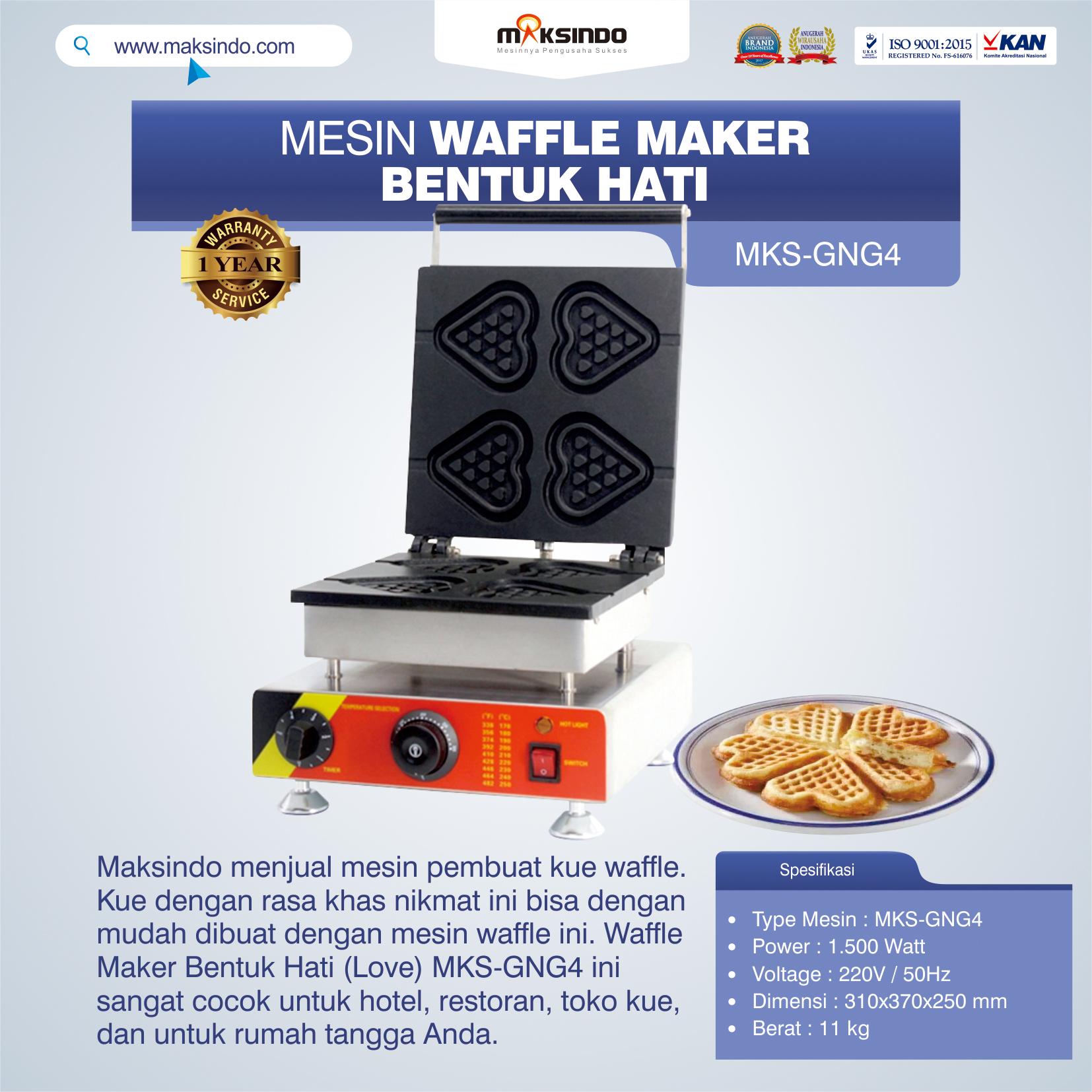 Jual Mesin Waffle Maker Bentuk Hati (Love) MKS-GNG4 di Solo