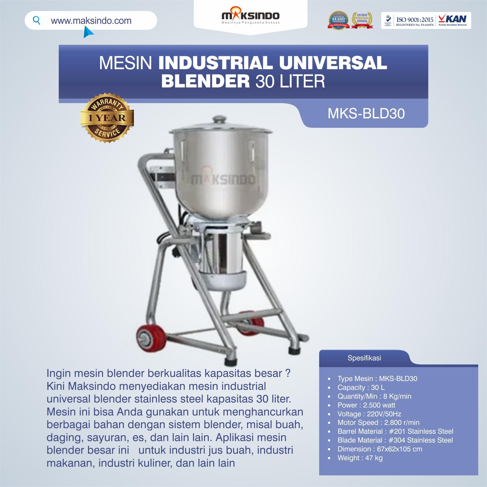 Jual Industrial Universal Blender 30 Liter MKS-BLD30 di Solo
