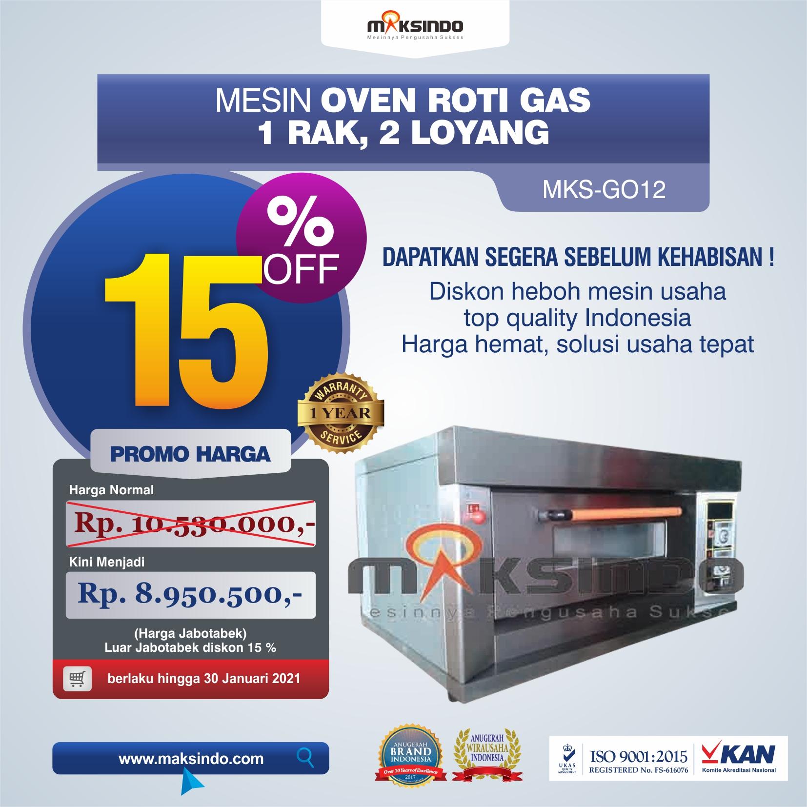 Jual Mesin Oven Gas 2 Loyang (MKS-GO12) di Solo