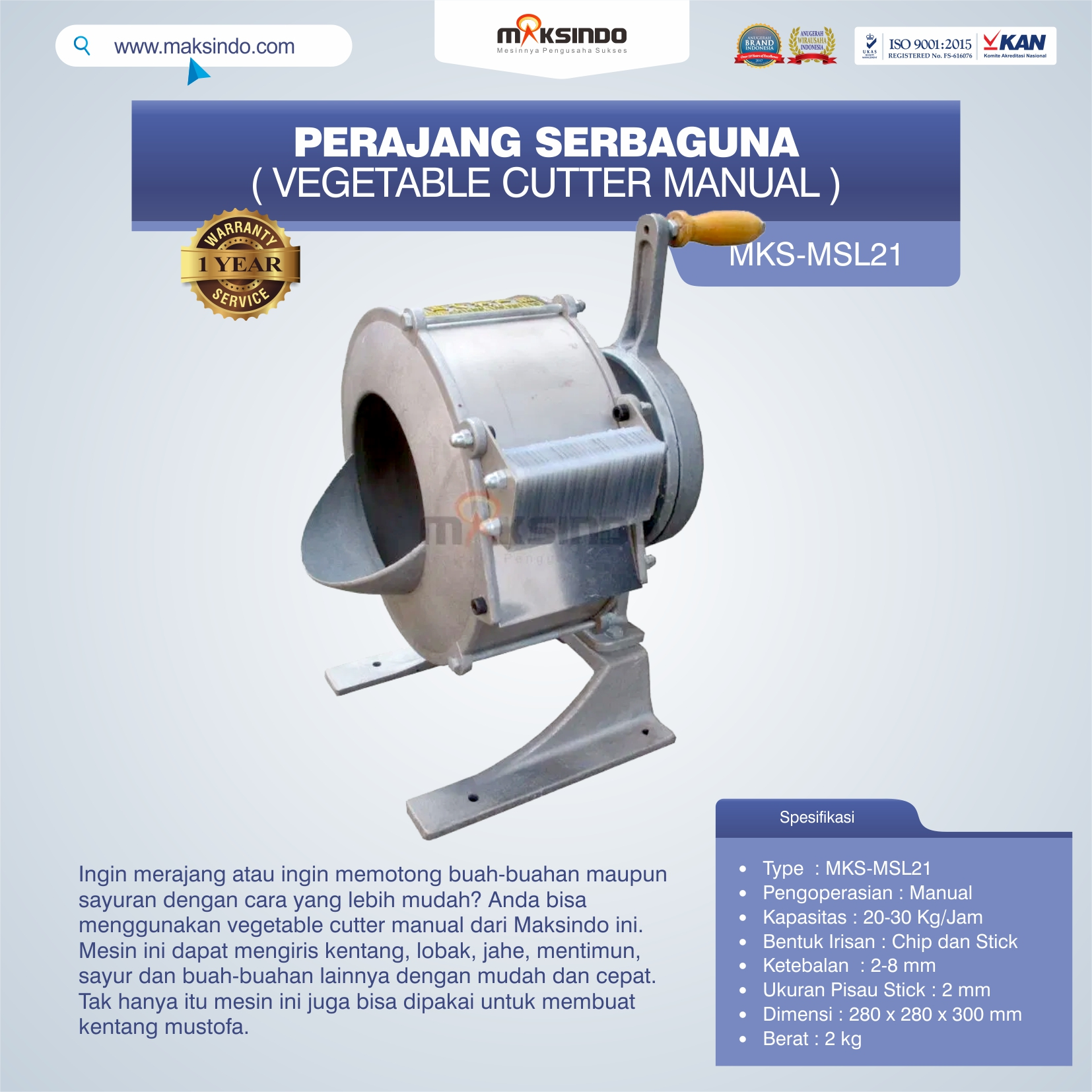 Jual Perajang Serbaguna (Vegetable Cutter Manual) MKS-MSL21 di Solo