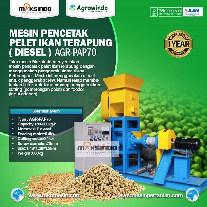 Mesin Pelet Ikan Terapung (diesel) AGR-PAP70