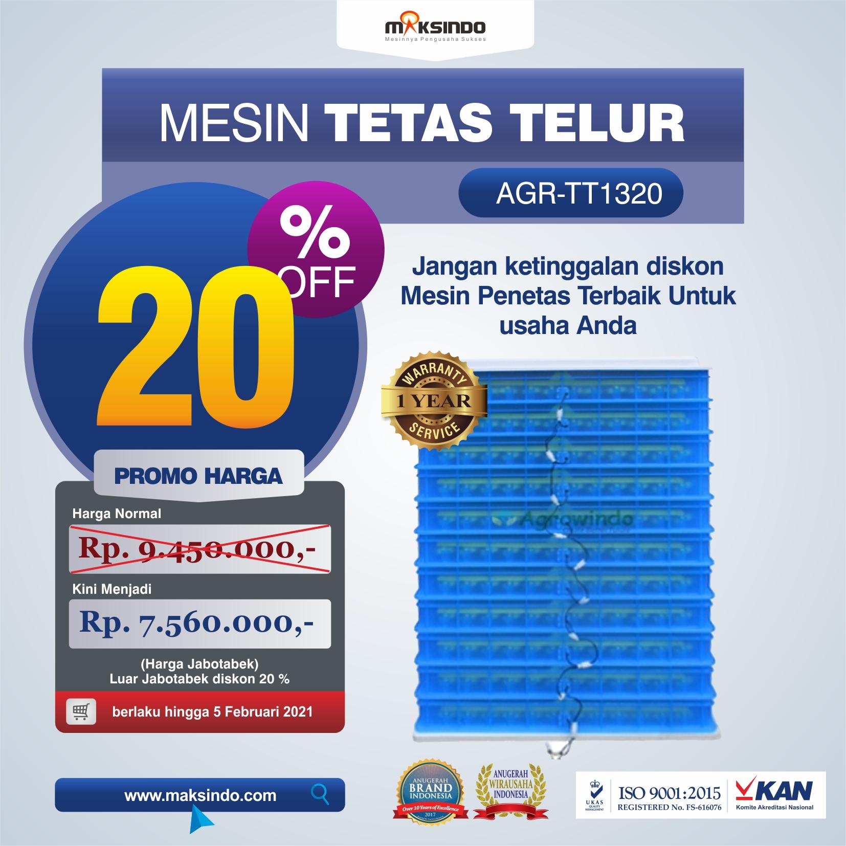 Jual Mesin Penetas Telur AGR-TT1320 Solo