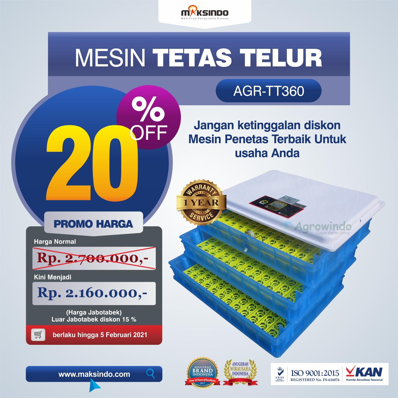 Jual Mesin Penetas Telur AGR-TT360 Di Solo