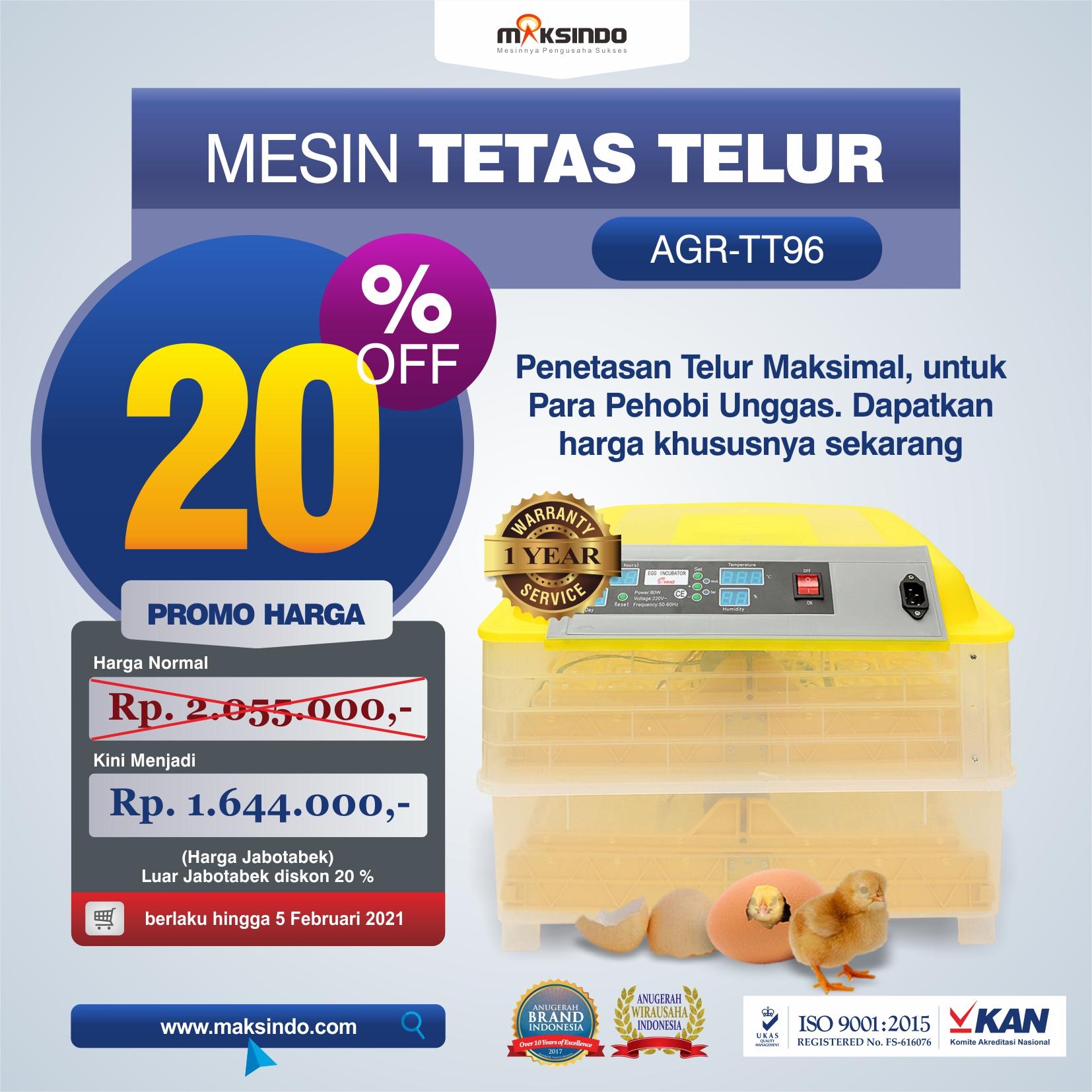 Jual Mesin Penetas Telur 96 Butir Otomatis – AGR-TT96 di Solo
