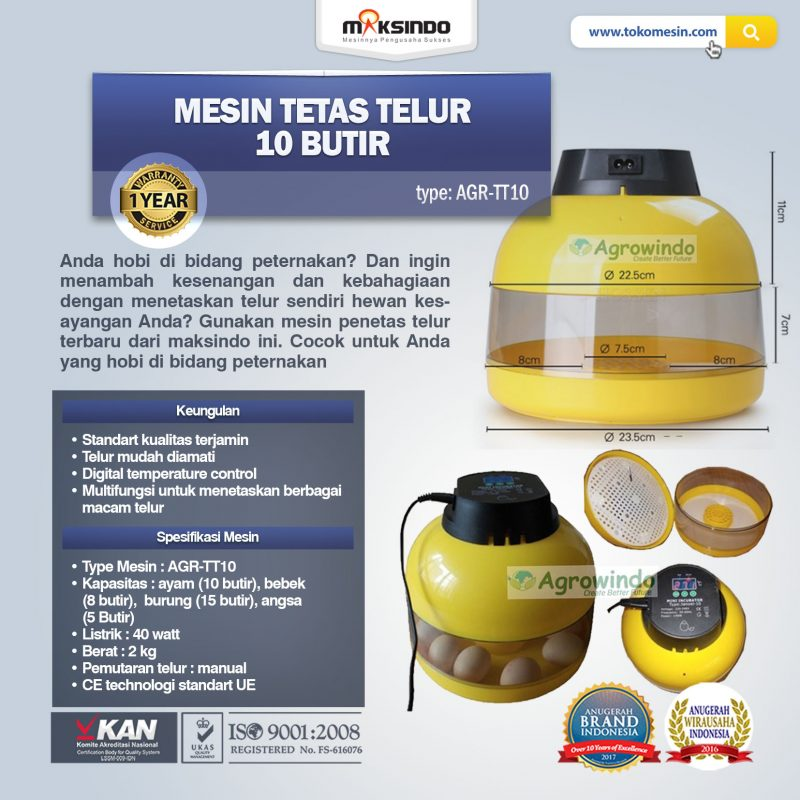 Jual Mesin Tetas Telur 10 Butir (AGR-TT-10) di Solo