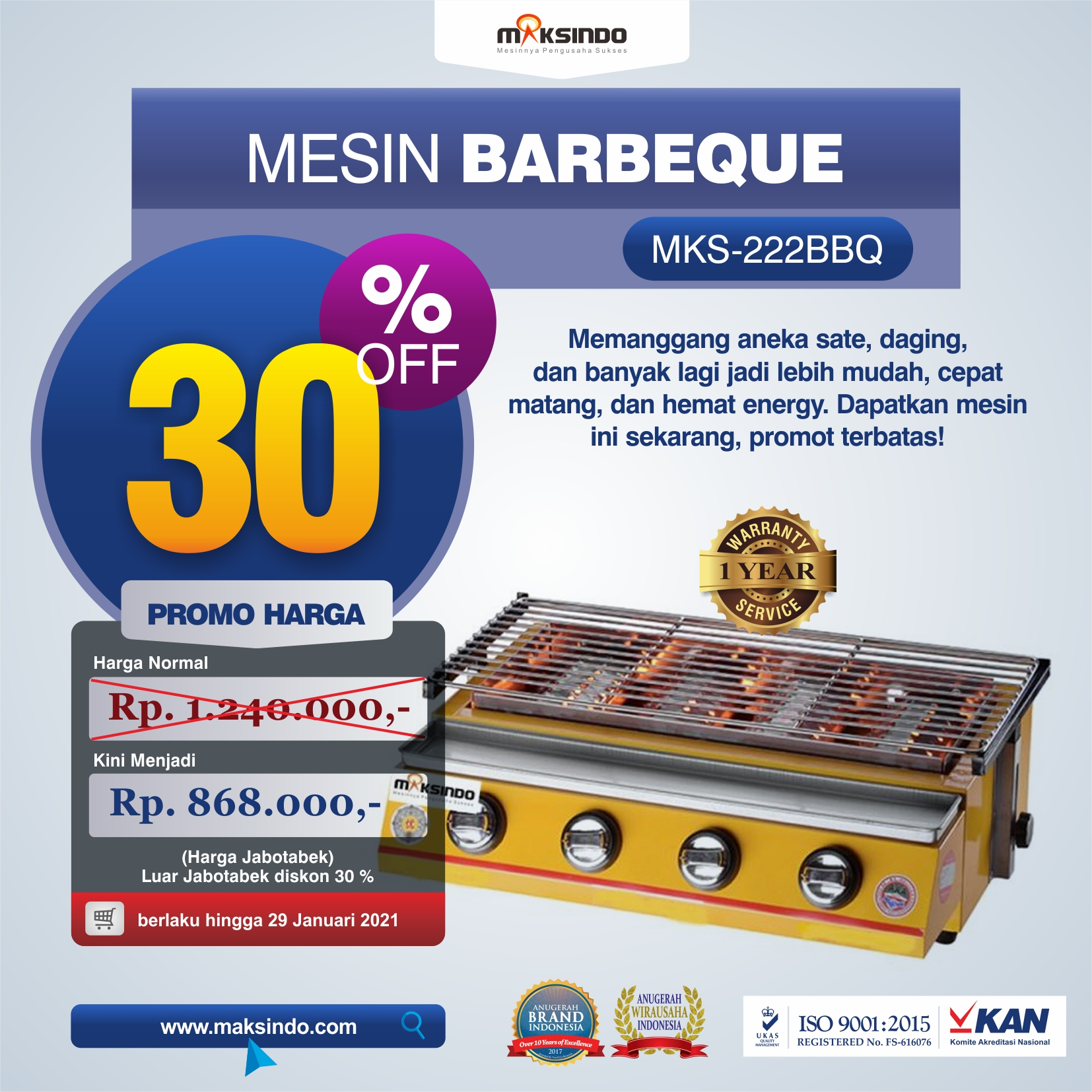 Jual Pemanggang BBQ Stainless (gas) 4 Tungku di Solo