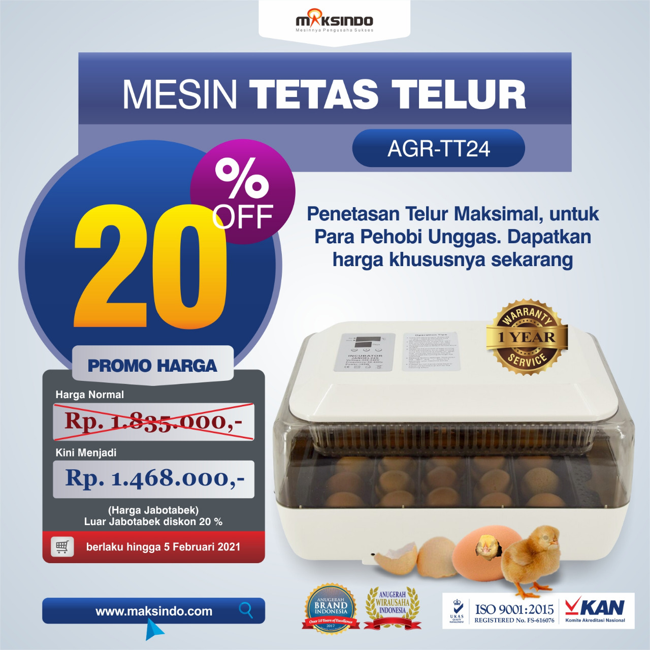 Jual Mesin Tetas Telur (AGR-TT24) di Solo