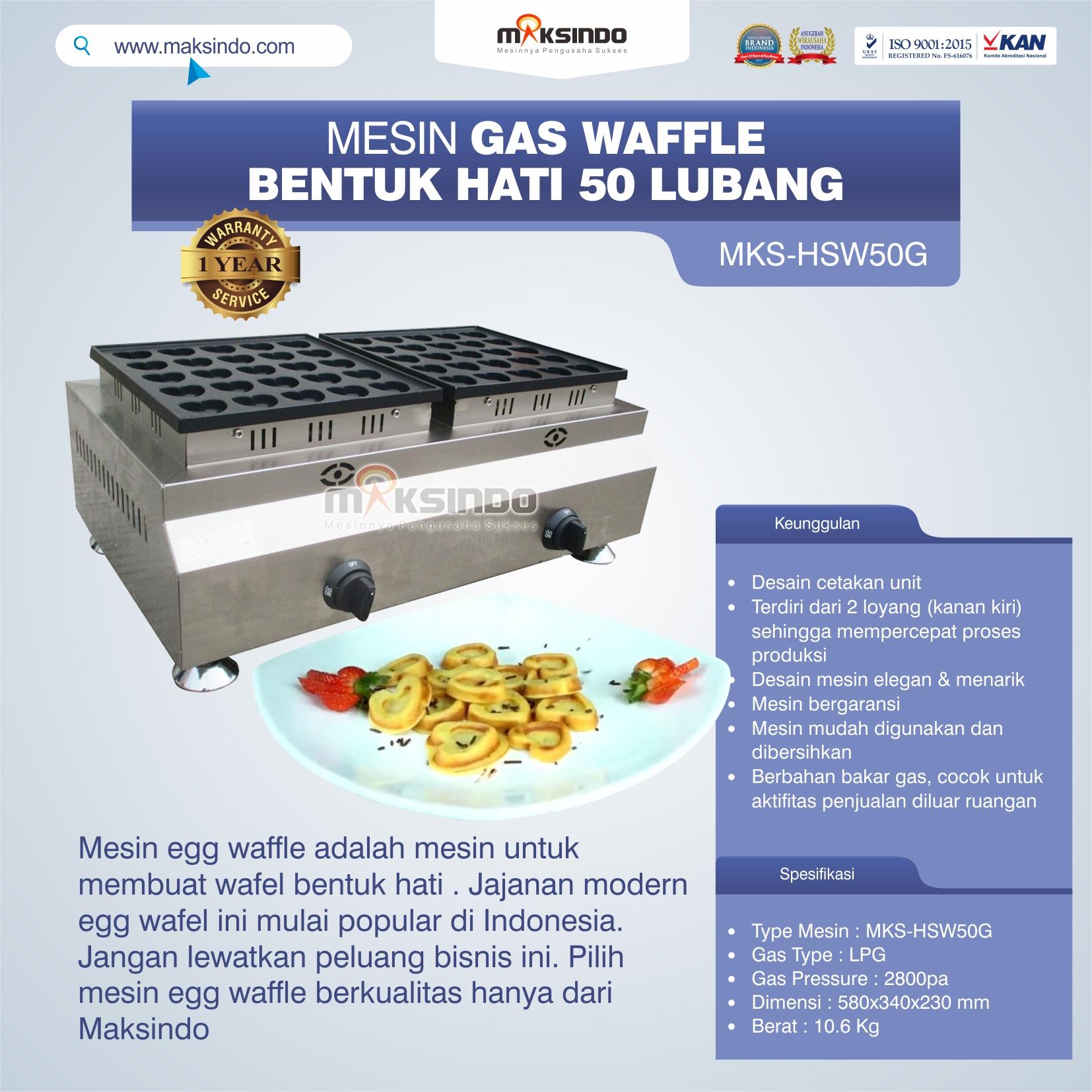 Jual Mesin Waffle Gas Bentuk Hati 50 Lubang MKS-HSW50G di Solo