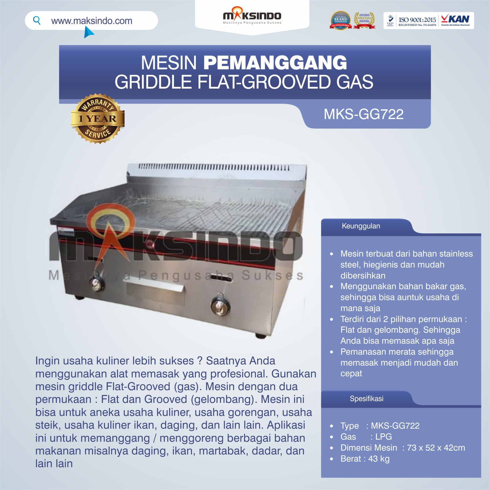 Jual Pemanggang Griddle Flat-Grooved Gas (GG722) di Solo