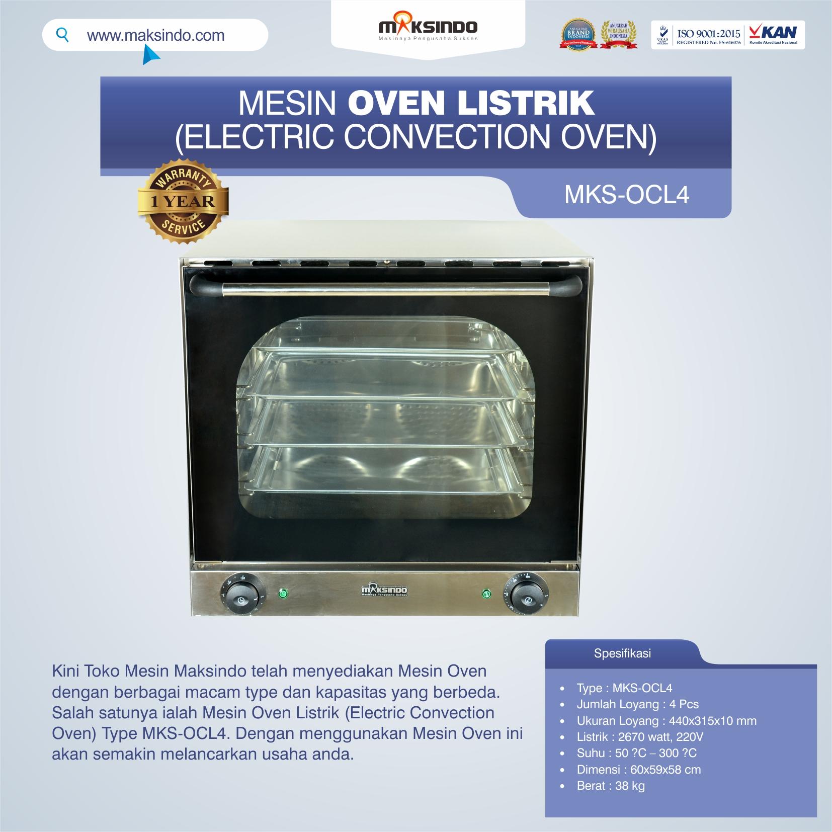 Jual Mesin Oven Listrik (Electric Convection Oven) MKS-OCL4 di Solo